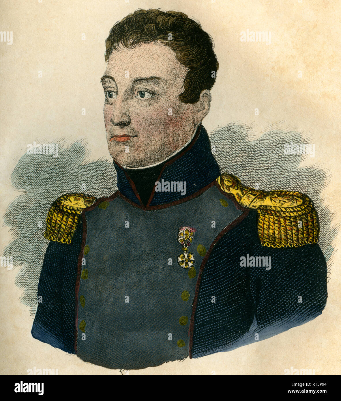 Marquis de Lafayette, french aristocrat, general and politician, lithography from: 'Geschichte Napoleon's von der Wiege bis zum Grabe', (history of Napoleon from the cradle to the grave) by C.T. Heyne, volume 1, Lithographische Anstalt von F.W. Goedsche und Steinmetz, Meissen, published by Goedsche & Comp., Chemnitz, 1840., Additional-Rights-Clearance-Info-Not-Available - Stock Image