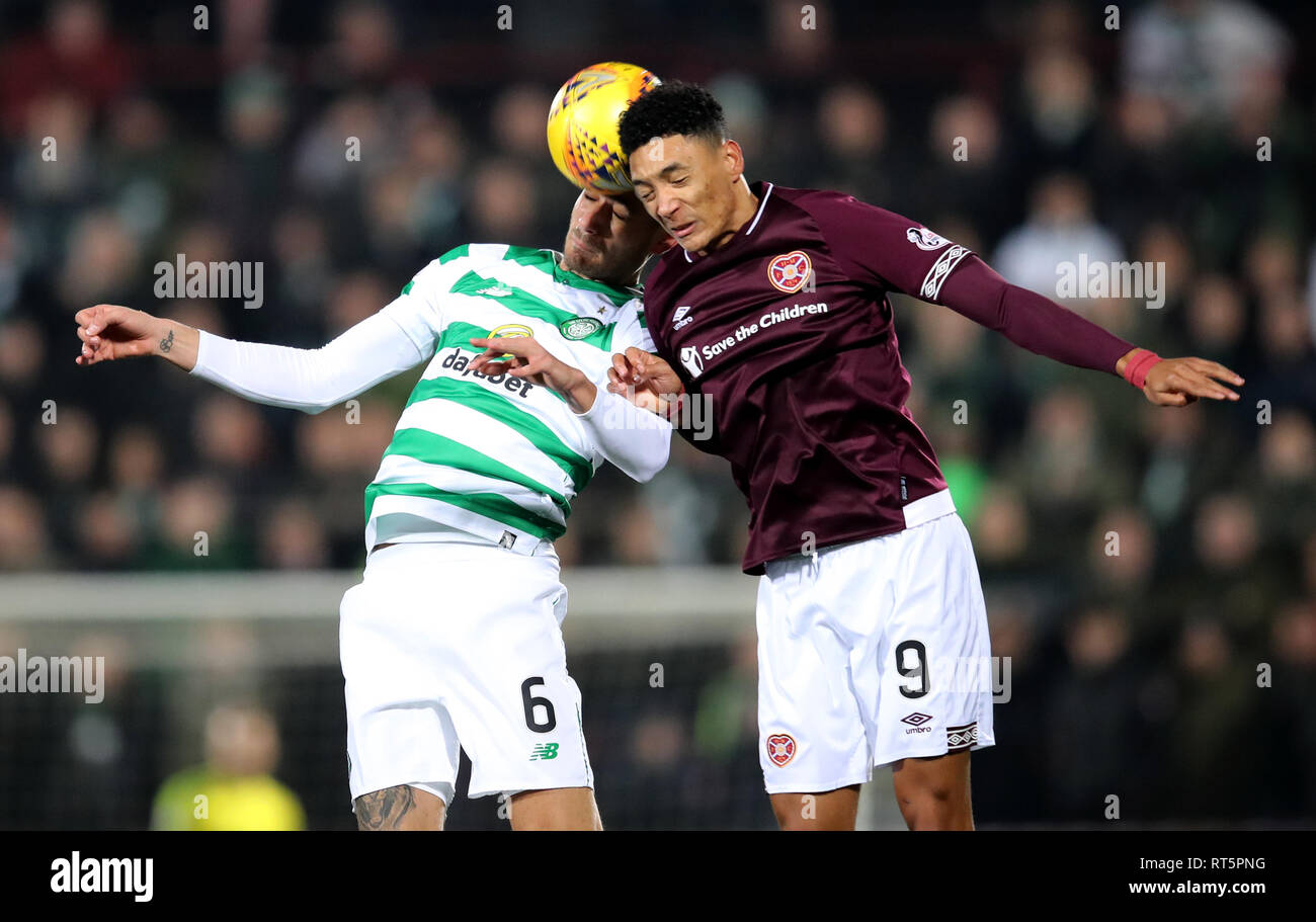 Hearts' Sean Clare and Celtic's Nir Bitton battle for the ball during the Ladbrokes Scottish Premiership match at Tynecastle Park, Edinburgh. - Stock Image