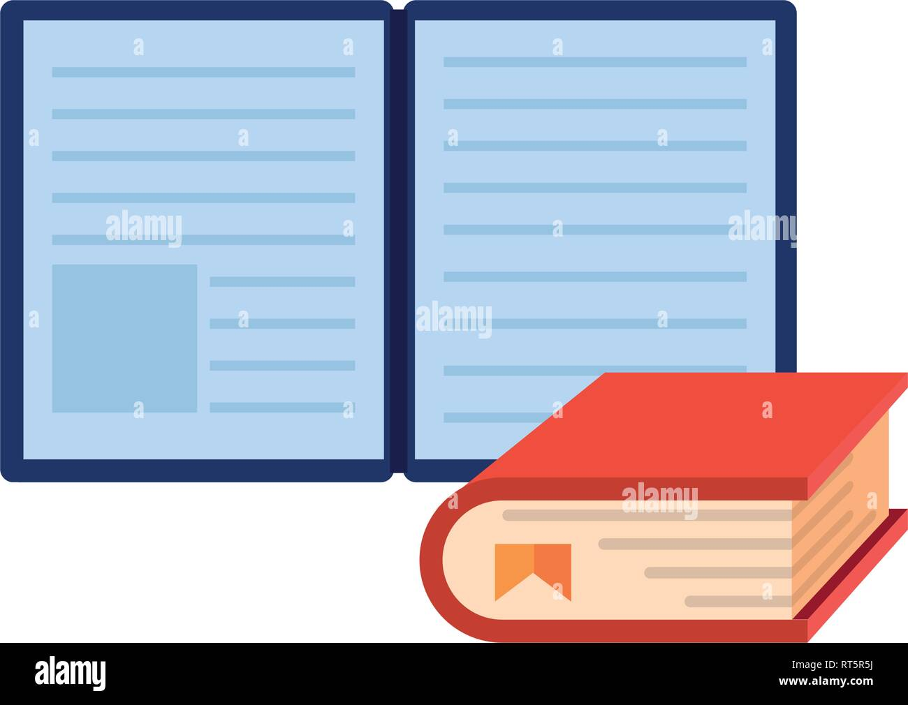 ebook book learning online education school vector illustration - Stock Image
