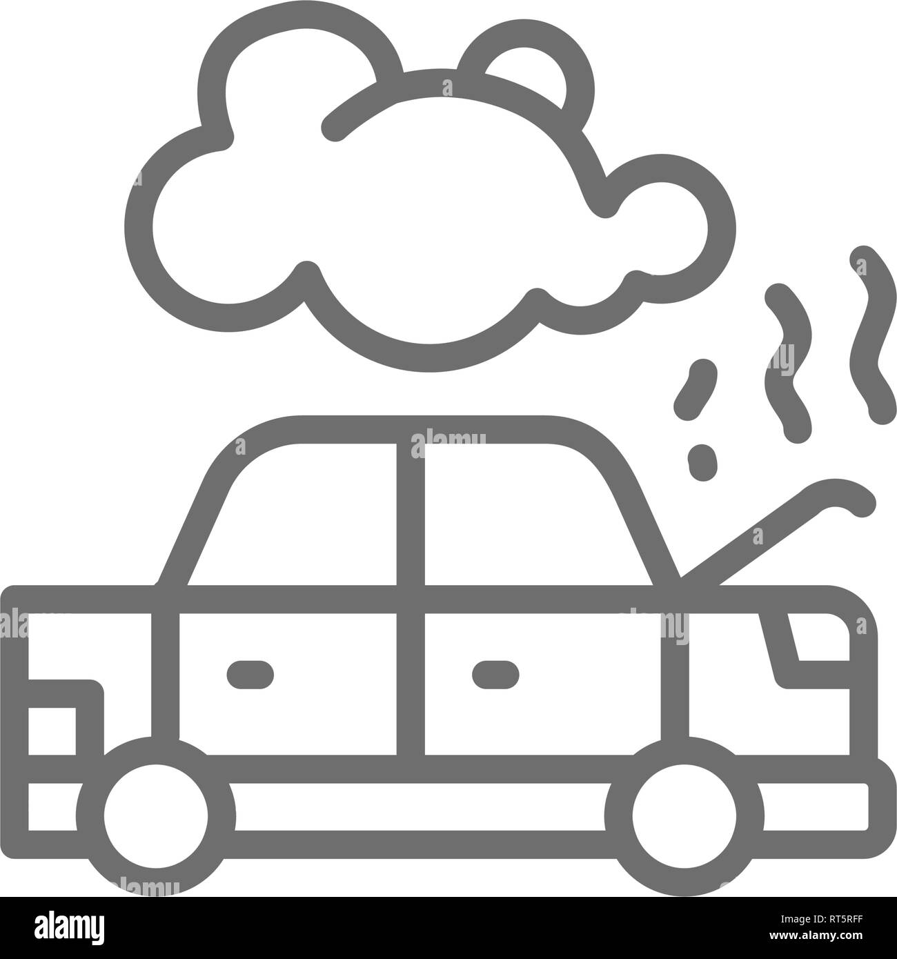 Car broke down, automobile smoking under hood, accident line icon. - Stock Image