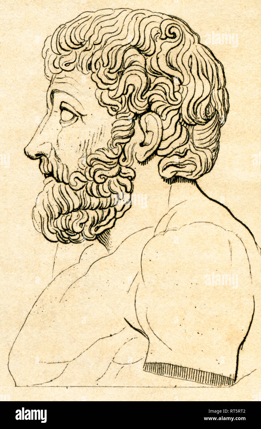 Greece, Aesop, ancient Greek fabulist, steel engraving from: Dr. C. A. Mebolds ' Welt-Gemälde-Gallerie oder Geschichte und Beschreibung aller Länder und Völker, ihrer Gebräuche, Religionen, Sitten u.f.m.', (world history, description all countries and people, their manners and customs), Stuttgart, published by Schweizerbart, about 1836., Artist's Copyright has not to be cleared - Stock Image