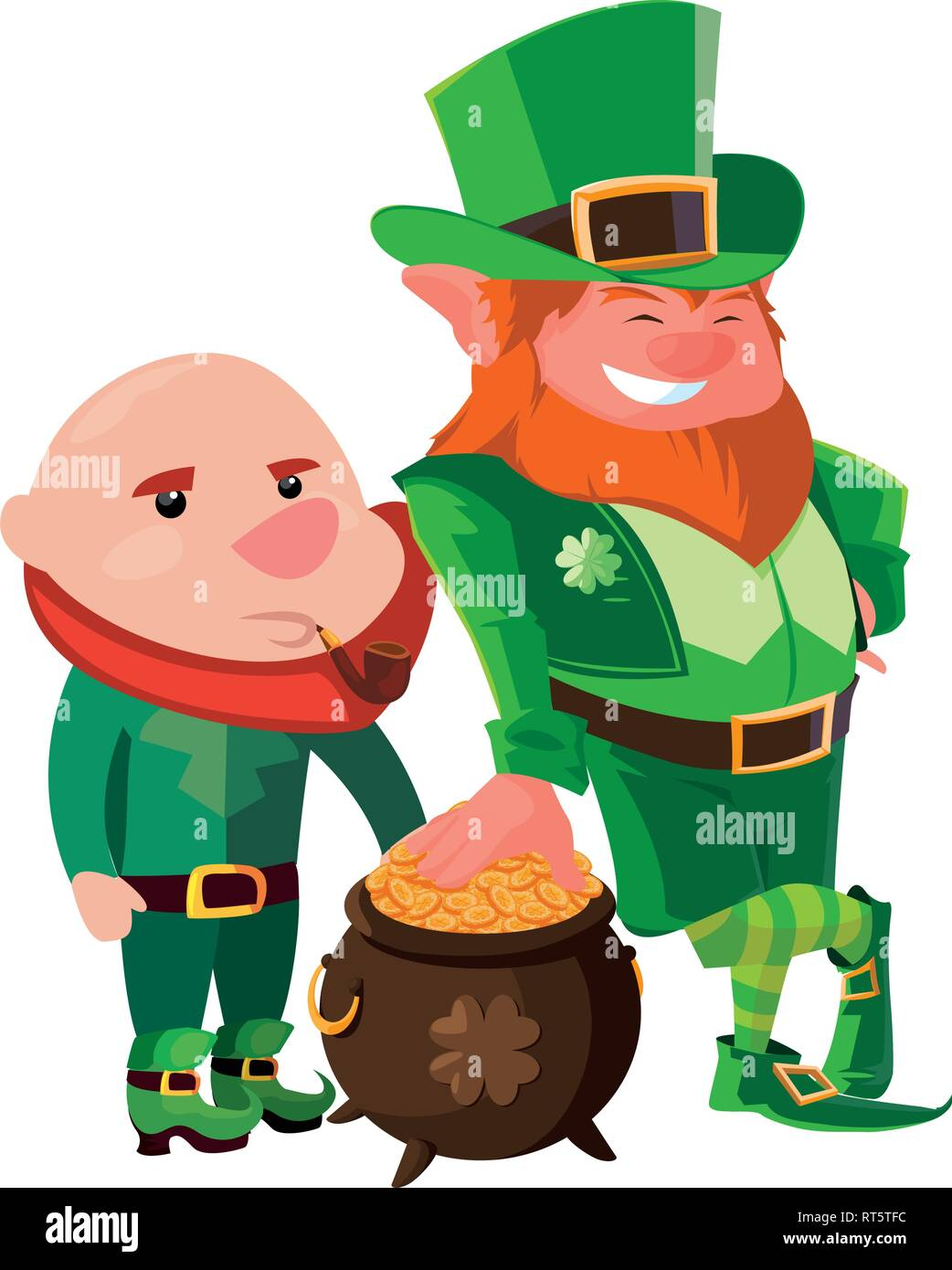 Leprechauns With Pot Coins St Patricks Day Vector Illustration Stock Vector Image Art Alamy