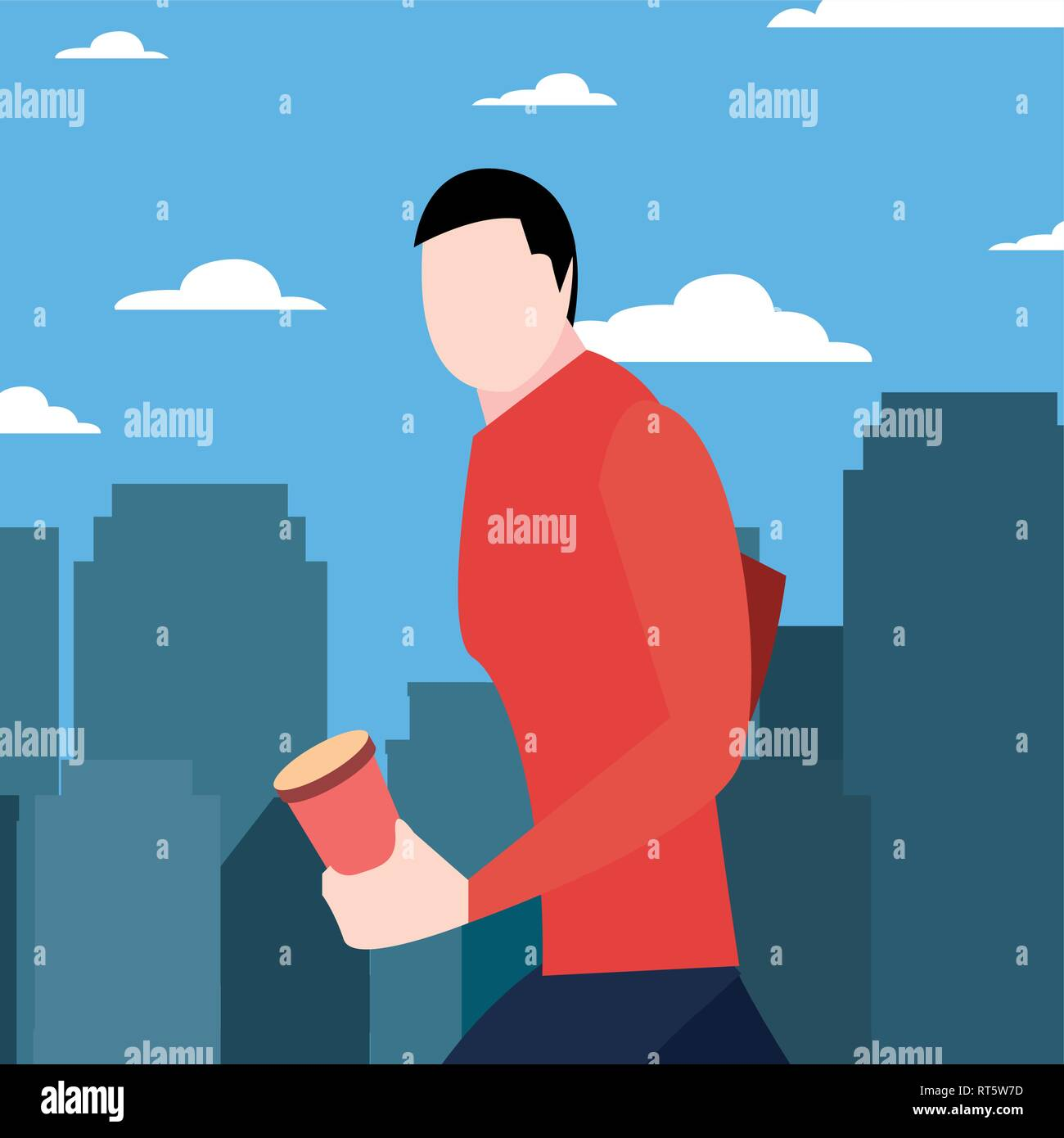 man walking with disposable cup in hand vector illustration - Stock Vector
