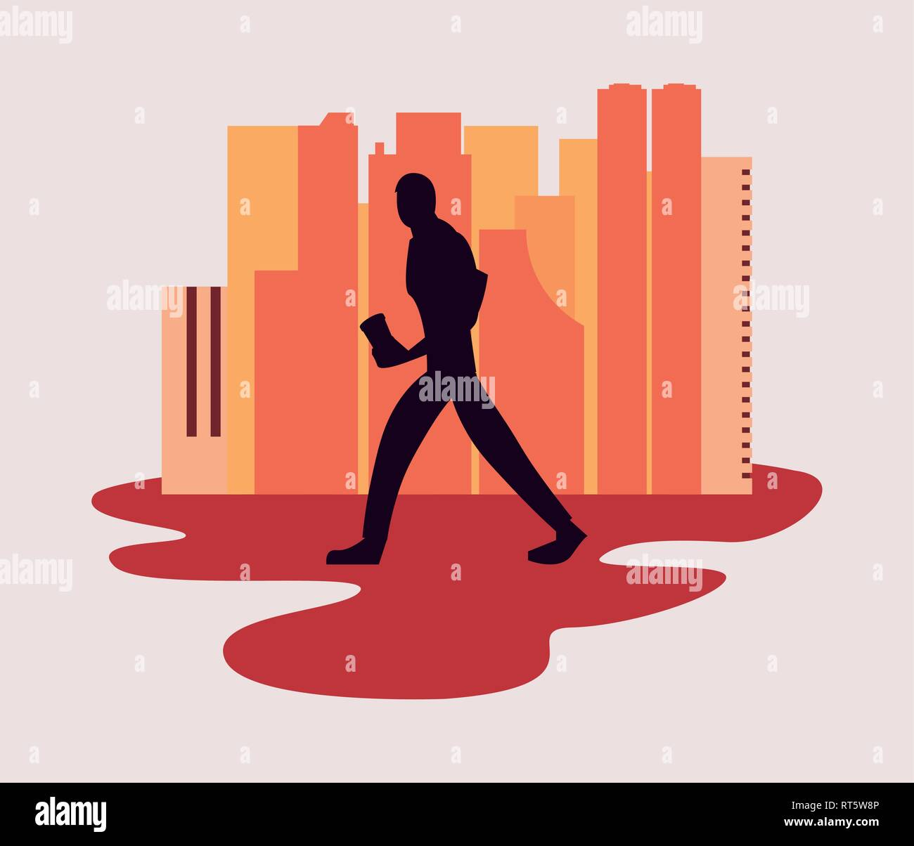 man silhouette walking with disposable cup in hand vector illustration - Stock Vector