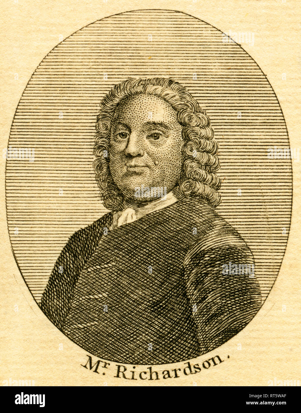 Samuel Richardson, British / English writer, 18th century, etching from an book of the 18th century, about 1766., Additional-Rights-Clearance-Info-Not-Available - Stock Image