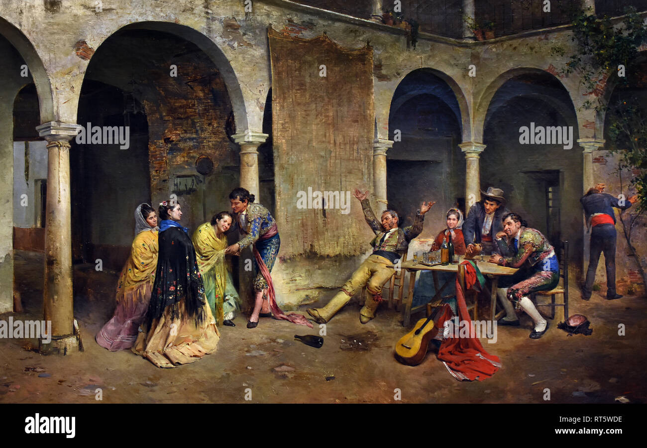 After the Bullfight 1885-1890 by Jose Denis Belgrano 1844-1917 Spain, Spanish. - Stock Image