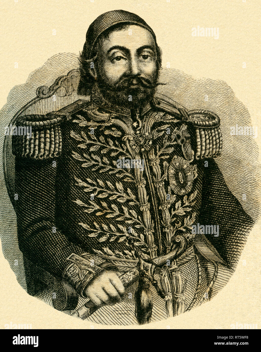 Halil Rifat Pasha, Grand admiral of the Ottoman Empire, lithography from: 'National calender for all crownlands of the imperial monarchy of Austria, 1856, published by Carl Wilhelm Medow, Leitmeritz / Praha., Additional-Rights-Clearance-Info-Not-Available - Stock Image