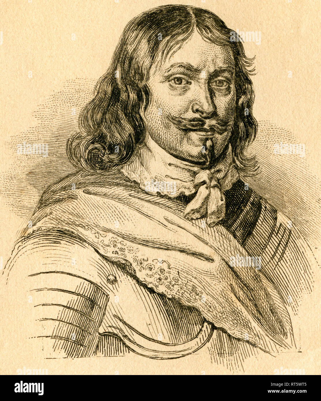 Lennart Torstensson, Swedish Field Marshall, 17th century, steel engraving from an book or magazine, about the 1840th., Artist's Copyright has not to be cleared - Stock Image