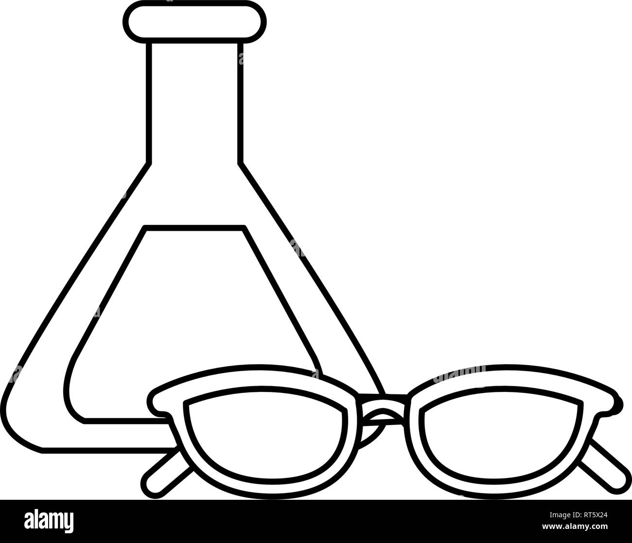 science laboratory flask and eyeglasses vector illustration - Stock Vector