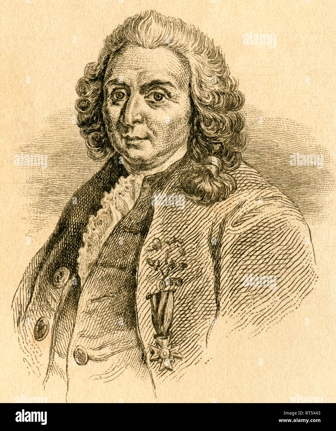 Carl Linnaeus / Carl von Linné, Swedish botanist, 18th century, steel engraving from an book or magazine, about 1830th., Artist's Copyright has not to be cleared - Stock Image