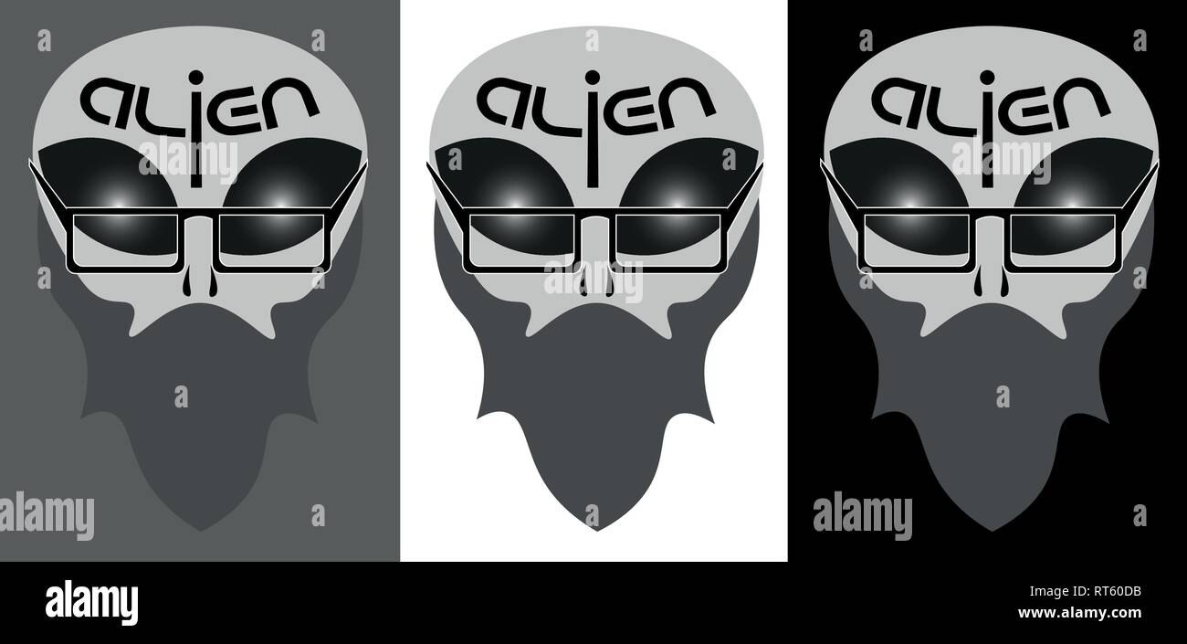 abstract alien face in hipster image with the inscription - Stock Image