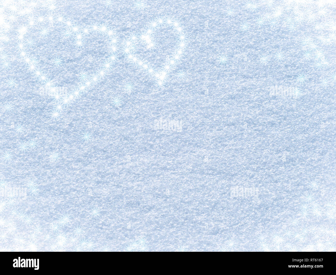 Snowy background with hearts and asterisks for Valentine's day - Stock Image