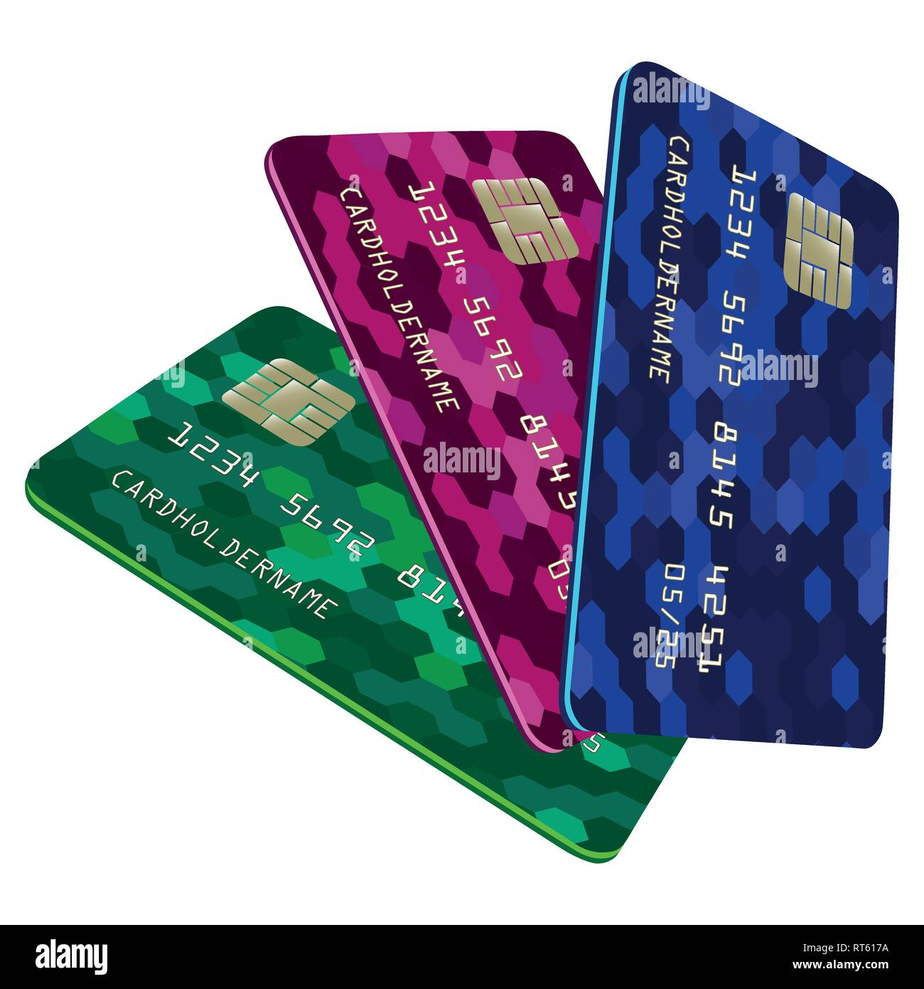 Vector illustration of a Bank card. Colorful abstract design. - Stock Vector