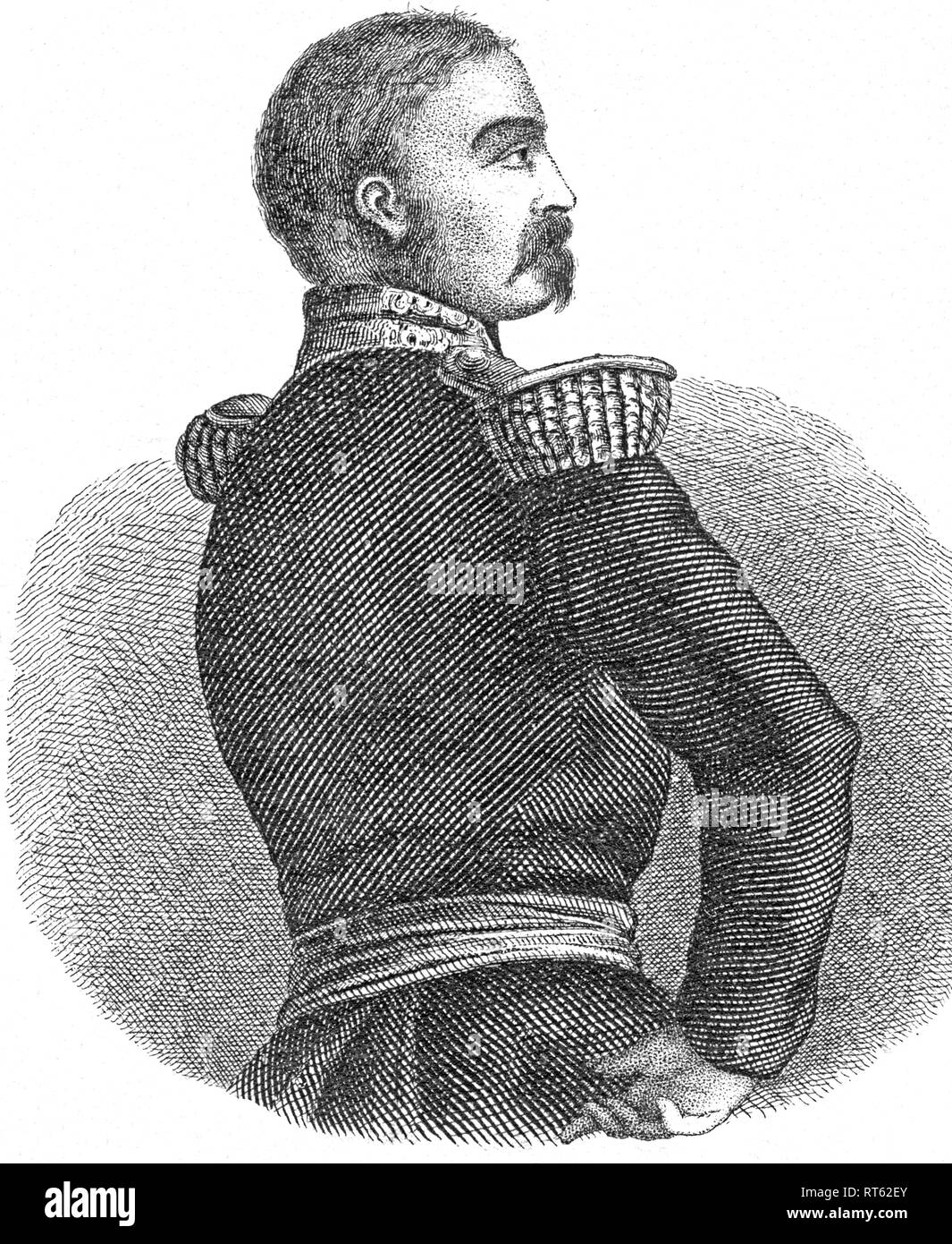 Aimable-Jean-Jacques Pélissier, french officer, 1855 general of the first corps of the oriental army in the Crimean War, in the same year Marshal of France, 1856 Duke of Malakow, lithography from: 'National-Kalender für alle Kronländer der kaiserl. königl. Monarchie auf das Schaltjahr 1856 (National calender for all crown lands of the imperial monarchy of Austria), lithographer: W. Klimt, published by Carl Wilhelm Medow, Leitmeritz / Prague., Additional-Rights-Clearance-Info-Not-Available - Stock Image