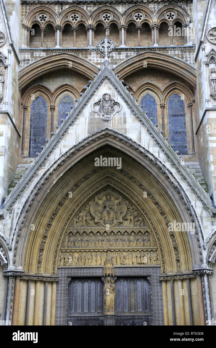Architectural Detail of North Entrance, Westminster Abbey, London, England, United Kingdom Stock Photo
