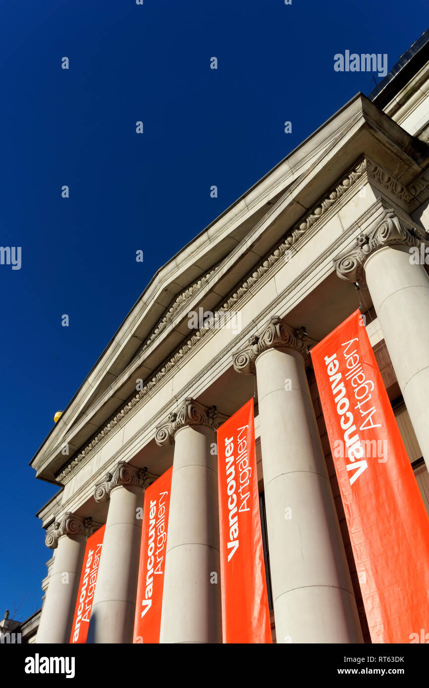 Neoclassical facade of the Vancouver Art Gallery in downtown Vancouver, BC, Canada - Stock Image
