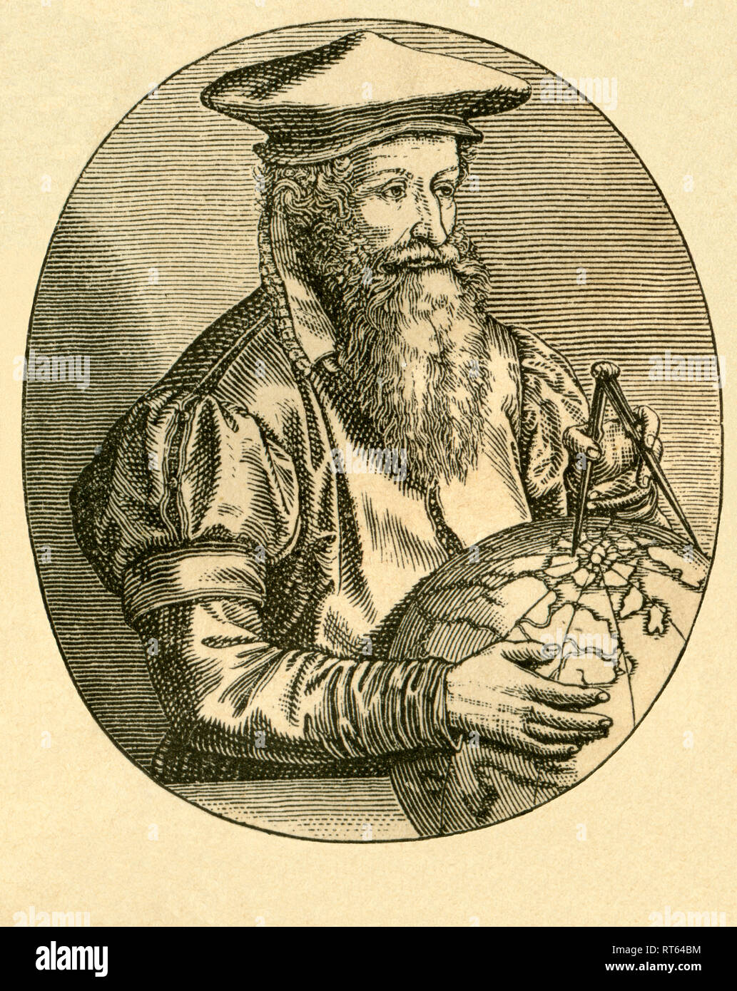 """Gerhard Mercator, cartographer and geographer, 16th century, illustration from: """"Die Welt in Bildern """" (images of the world), by Dr. Chr. G. Hottinger, self-published, Berlin, Strasbourg, 1881., Additional-Rights-Clearance-Info-Not-Available Stock Photo"""