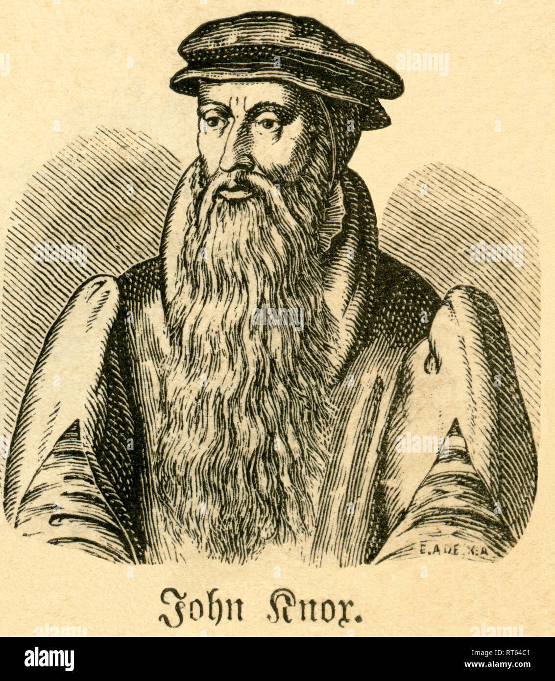 John Knox, Scottish Reformer, theologian and founder of the Presbyterian Church of Scotland, 1514-1572, illustration from ' Die Welt in Bildern ' (illustrations of the world), published by Dr. Chr. G. Hottinger in self-publishing, Berlin, Strasbourg, 1881., Additional-Rights-Clearance-Info-Not-Available - Stock Image