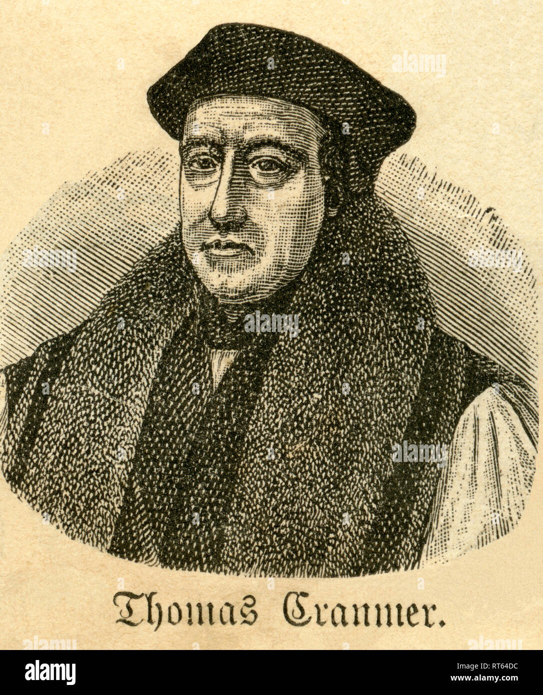 """Thomas Cranmer, Archbishop of Canterbury, English Reformer, illustration from: """"Die Welt in Bildern """" (images of the world), published by Dr. Chr. G. Hottinger in self-publishing, Berlin, Strasbourg, 1881., Additional-Rights-Clearance-Info-Not-Available Stock Photo"""