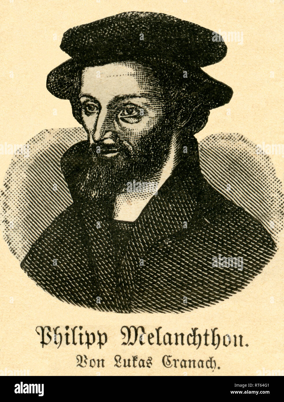 Philipp Melanchthon, German Lutheran Reformer, illustration from: 'Die Welt in Bildern ' (images of the world), published by Dr. Chr. G. Hottinger in self-publishing, Berlin / Strasbourg, 1881., Additional-Rights-Clearance-Info-Not-Available - Stock Image