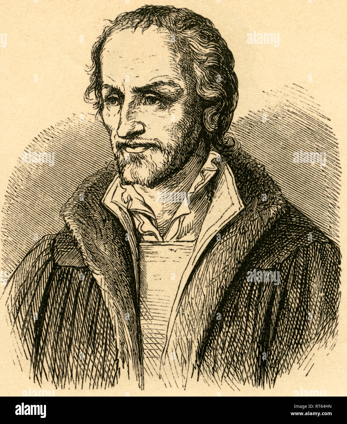 Philip Melanchthon, German Lutheran Reformer, 1497-1560, Illustration from: 'Deutsche Männer ' (German men), images from the history of the German people from Hermann dem Cherusker to our days by Manuel Raschke, with 317 woodcuts from J.J. Webers xyl. Anstalt in Leipzig, published by Karl Prochaska, Leipzig and Teschen, 1868., Additional-Rights-Clearance-Info-Not-Available - Stock Image