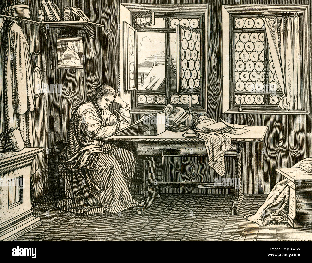 Martin Luther on the Wartburg, illustration (drawn by Trenkwald, engraved by Werthmann) from: 'Die Deutsche Geschichte in Bildern ' (images of German history), text by Dr. F. Bülau, published by C.C. Meinhold and sons, Dresden, 1862., Additional-Rights-Clearance-Info-Not-Available - Stock Image