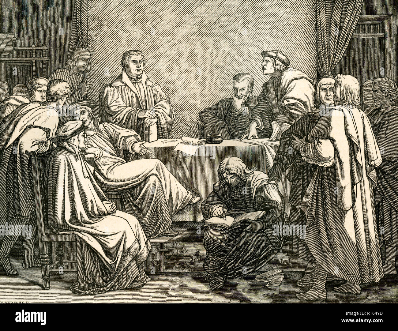 Luther und Eck in discussion, illustration (drawn by Trenkwald, engraved by F. Reusche) from: 'Die deutsche Geschichte in Bildern ' (images of German history), text by Dr. F. Bülau, published by C.C. Meinhold & sons, Dresden, 1862., Additional-Rights-Clearance-Info-Not-Available - Stock Image