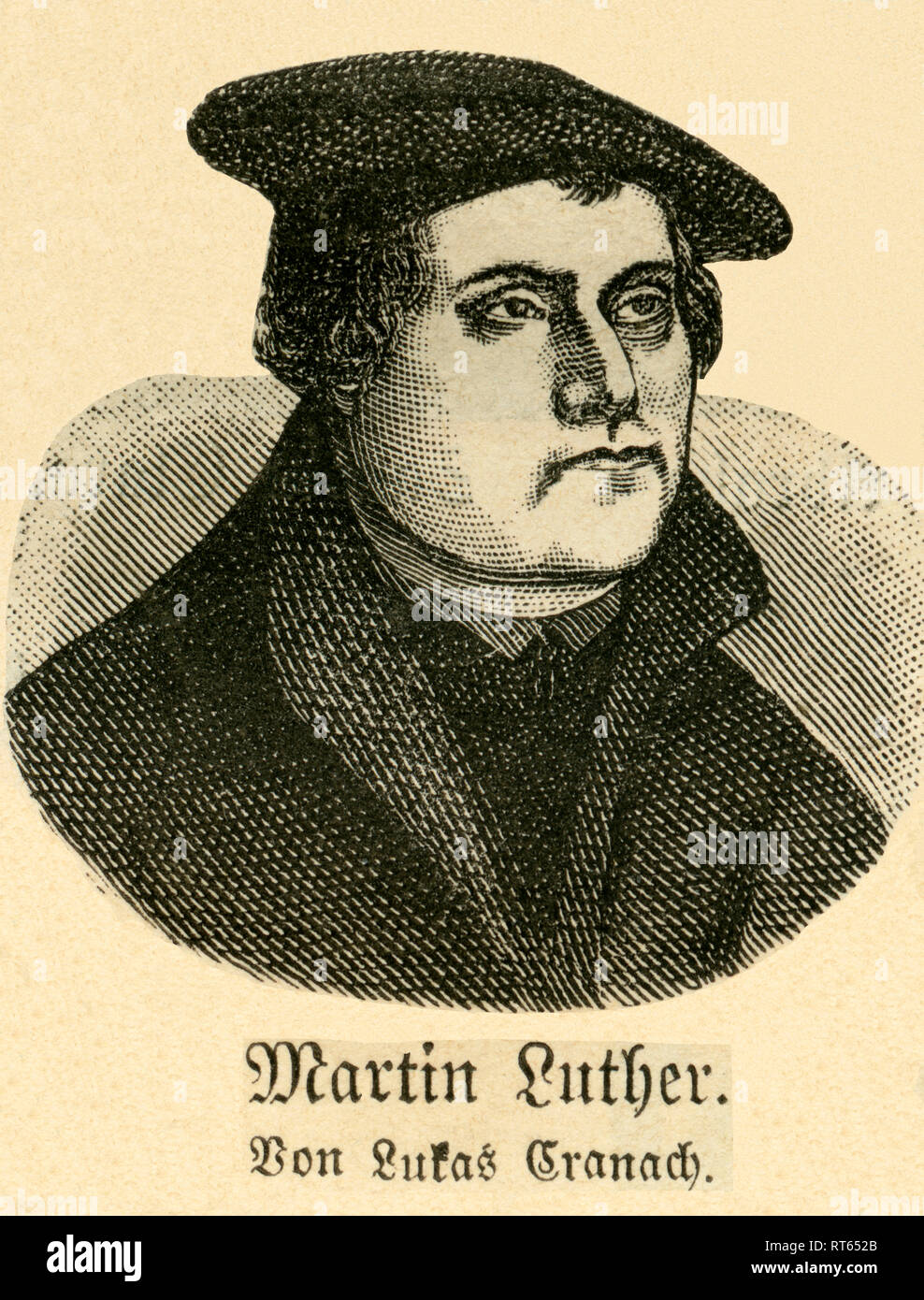 Martin Luther (by Lukas Cranach), portrait, German theologian and Reformer, illustration from: 'Die Welt in Bildern ' (images of the world), published by Dr. Chr. G. Hottinger in self-publishing, Berlin / Strasbourg, 1881., Additional-Rights-Clearance-Info-Not-Available - Stock Image