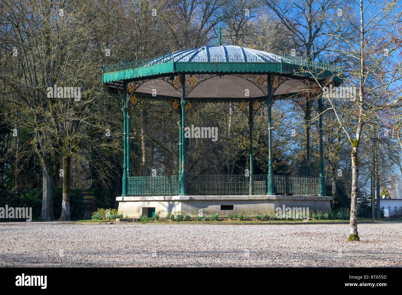 Bandstand in the Public Gardens at Saint Omer, France - Stock Image