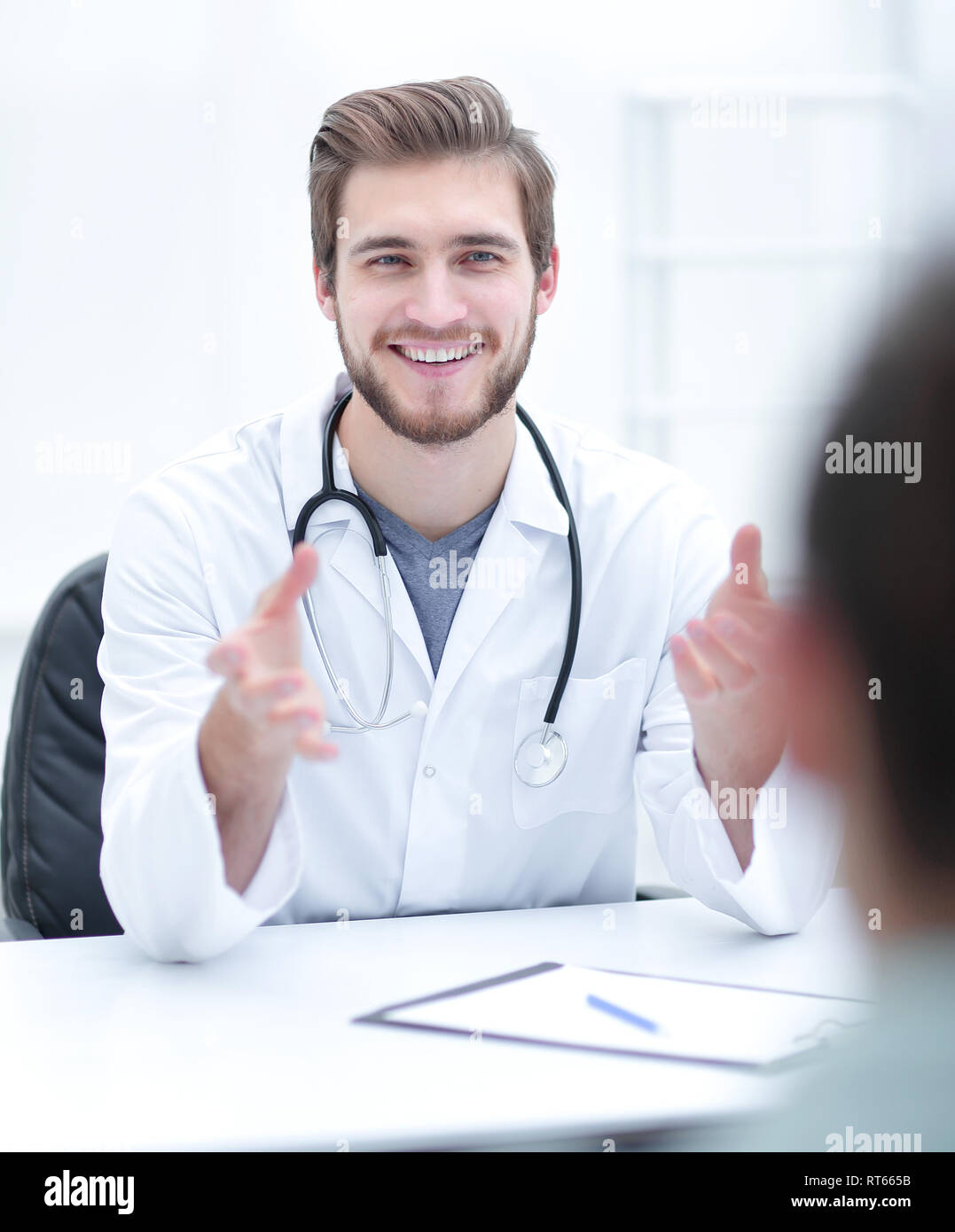 closeup.the doctor advising his patient - Stock Image