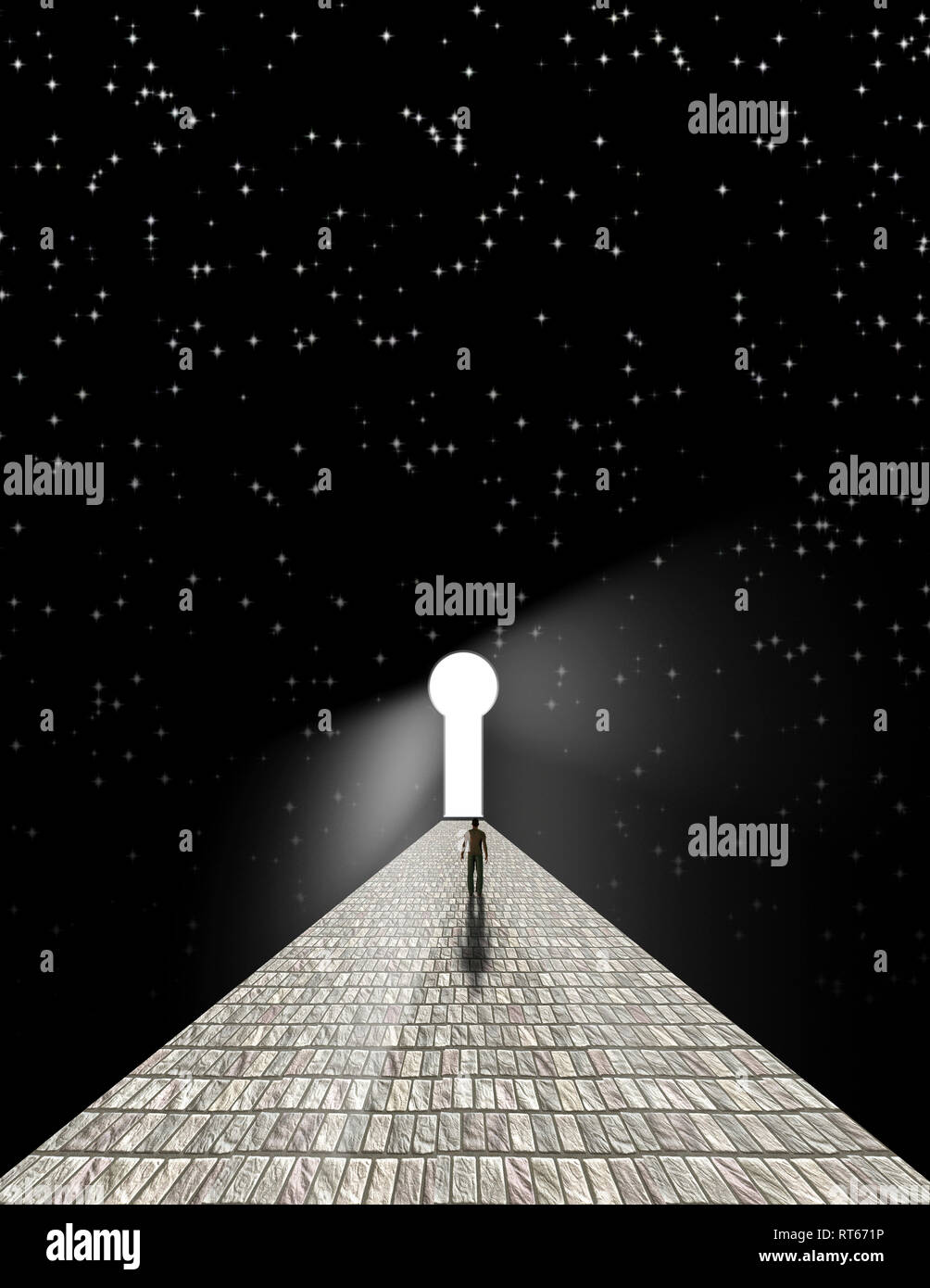 Man before keyhole on stone road with starry background. Stock Photo