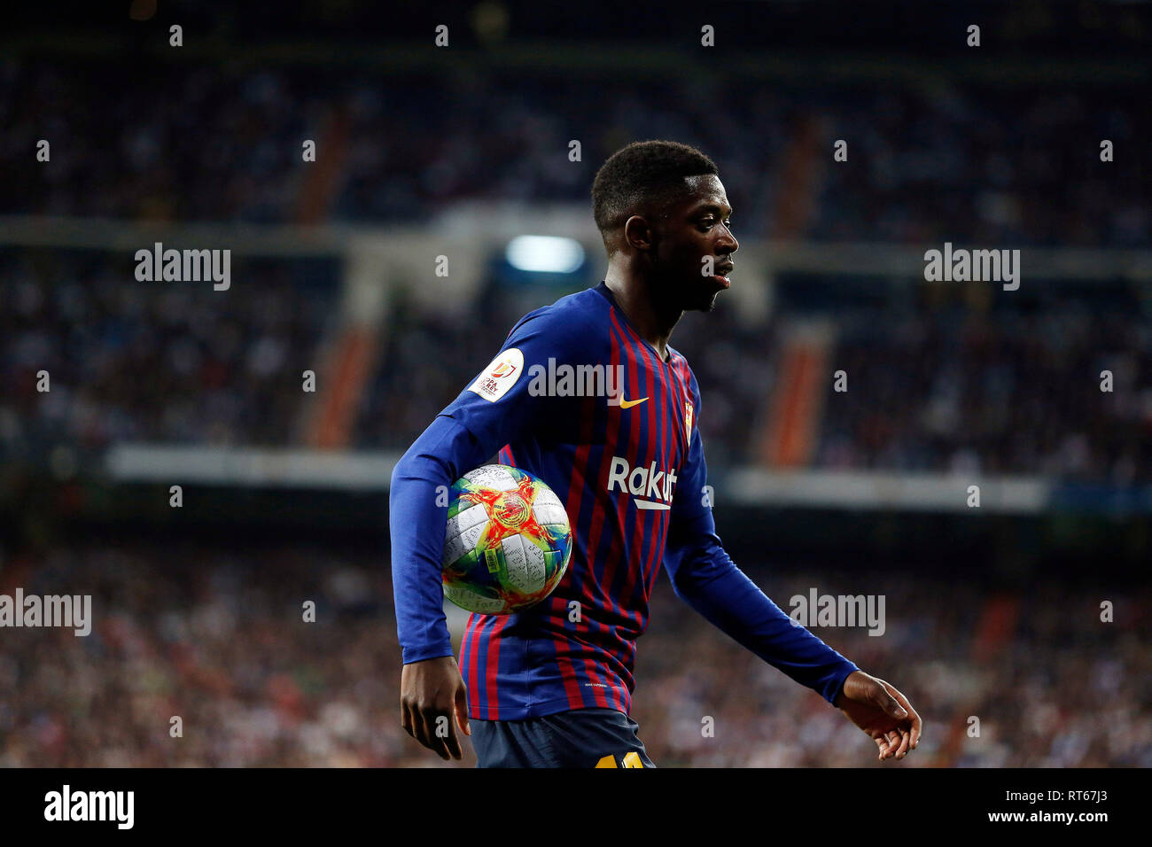Ousmane Dembele in action during the Copa del Rey semi final second leg match between Real Madrid CF and FC Barcelona at Santiago Bernabeu Stadium. (Final score Real Madrid 0-3 FC Barcelona) - Stock Image