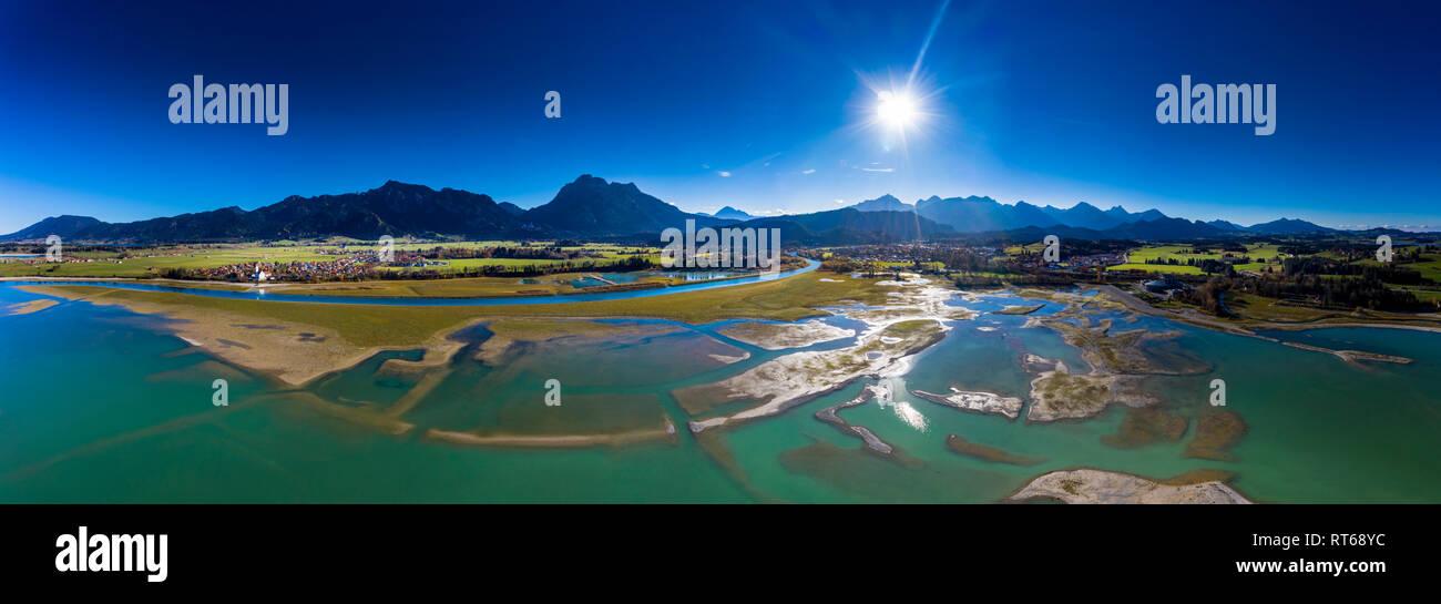Germany, Bavaria, East Allgaeu, Fuessen, Schwangau, Forggensee, low level of water and sandbanks Stock Photo