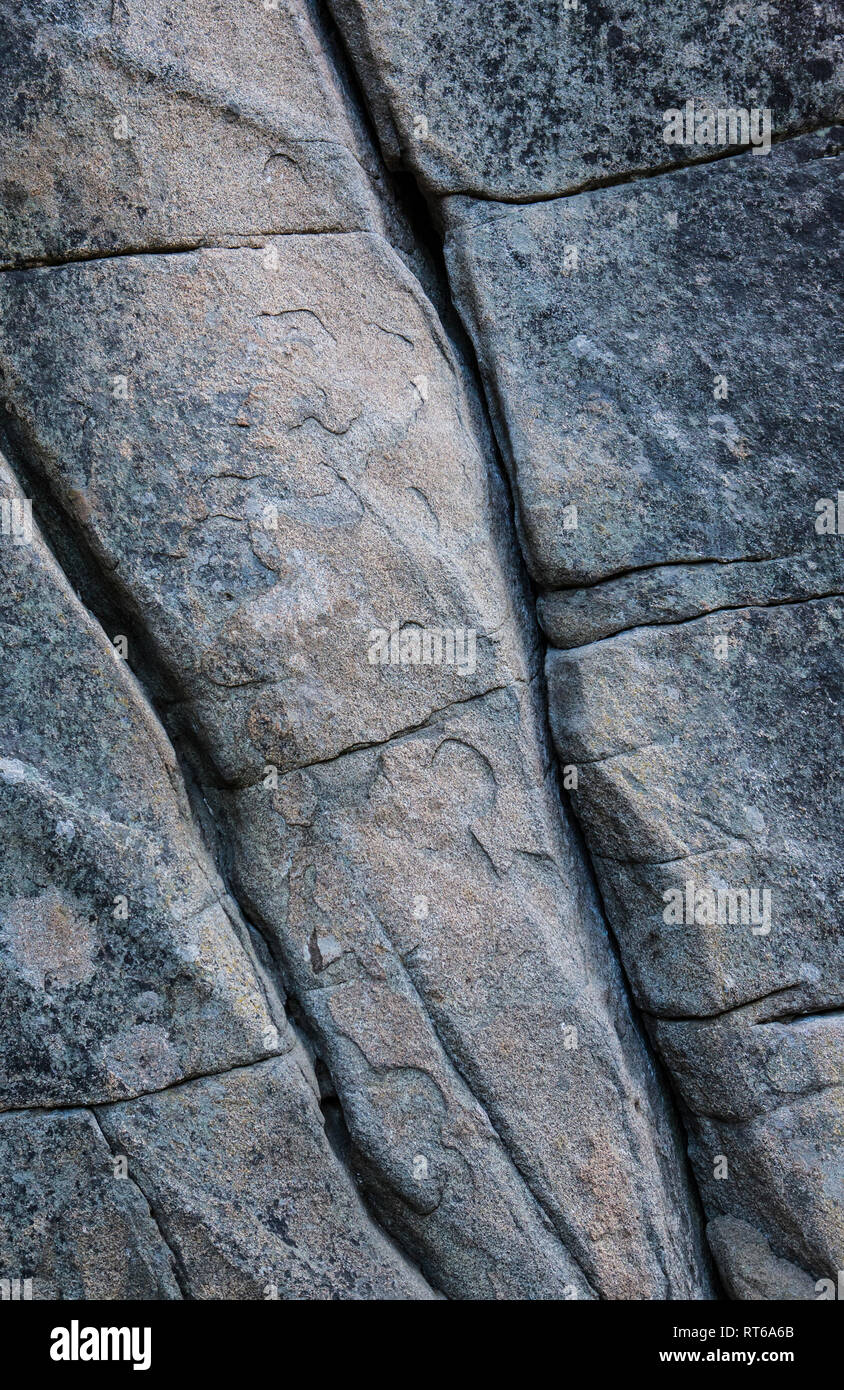 Cracks in a rock face.  Icicle Canyon in the Washington Cascades Range, USA. 'Classic Crack', 5.9. - Stock Image