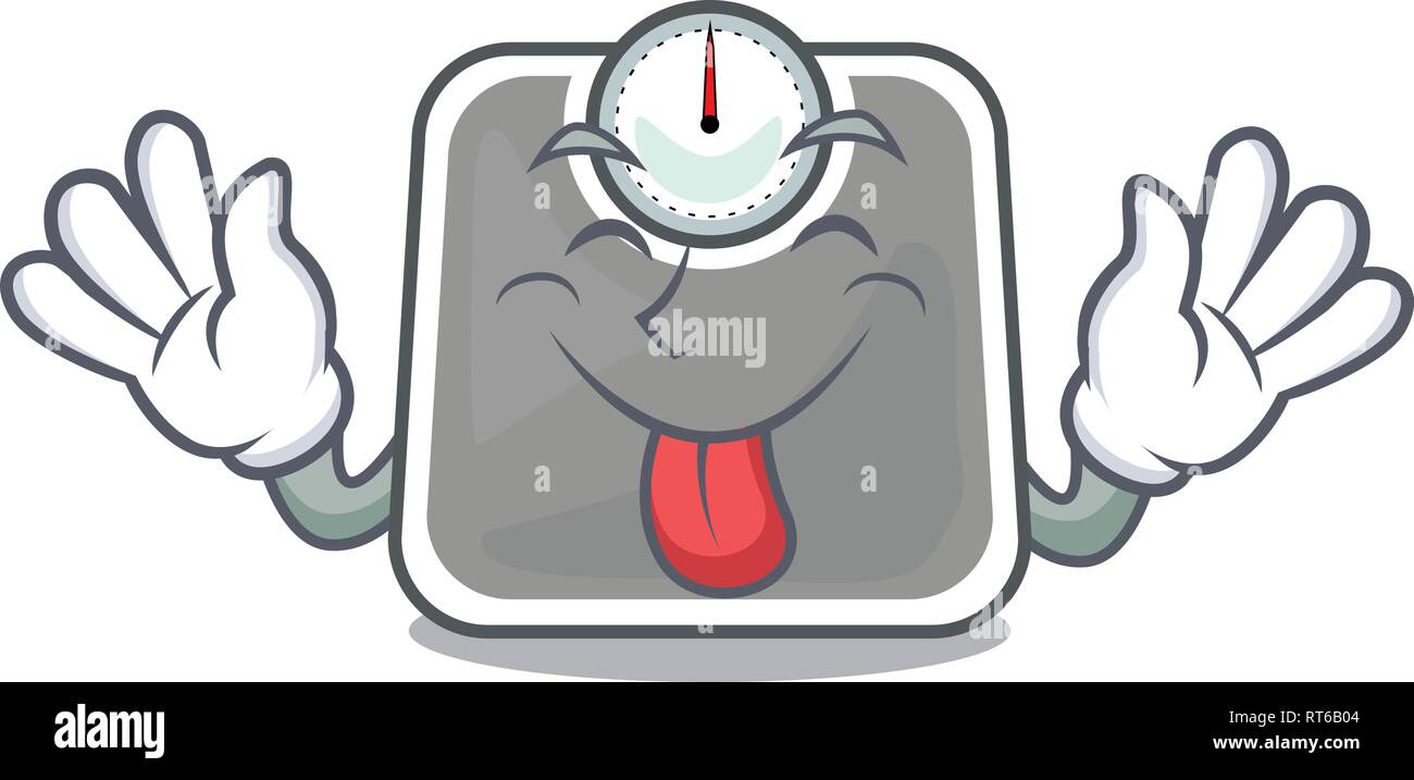 Tongue out weight scala isolated with in cartoons - Stock Image