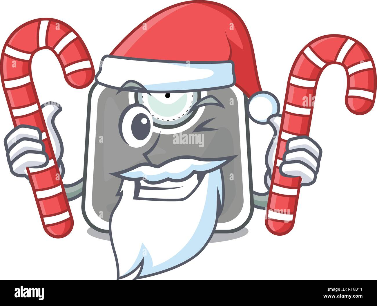 Santa with candy weight scala isolated with in cartoons - Stock Image