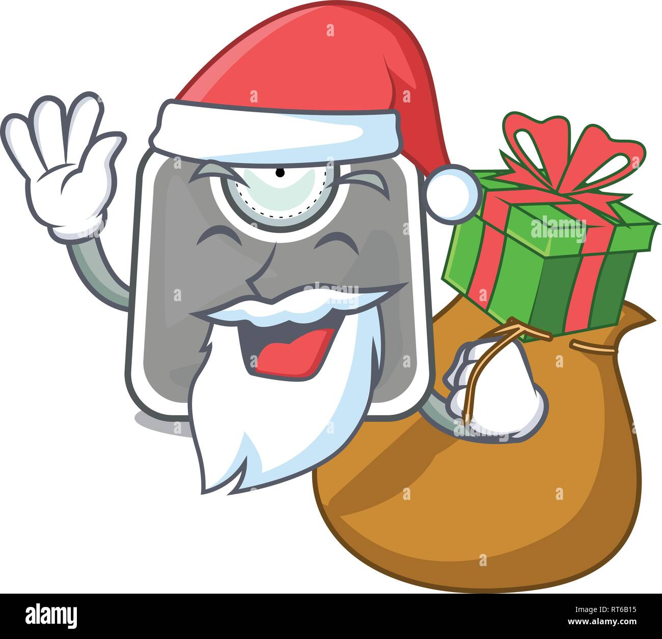 Santa with gift weight scala isolated with in cartoons - Stock Image
