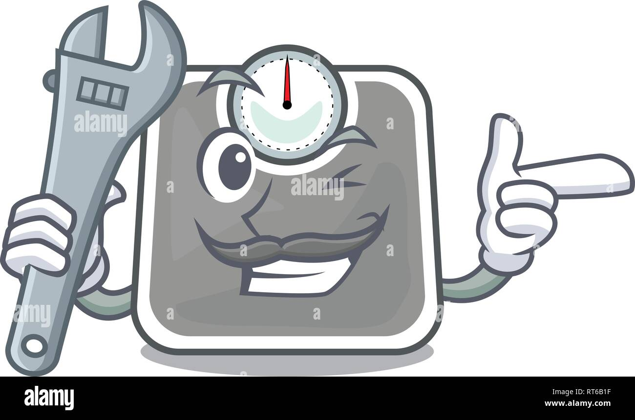 Mechanic weight scala isolated with in cartoons - Stock Image