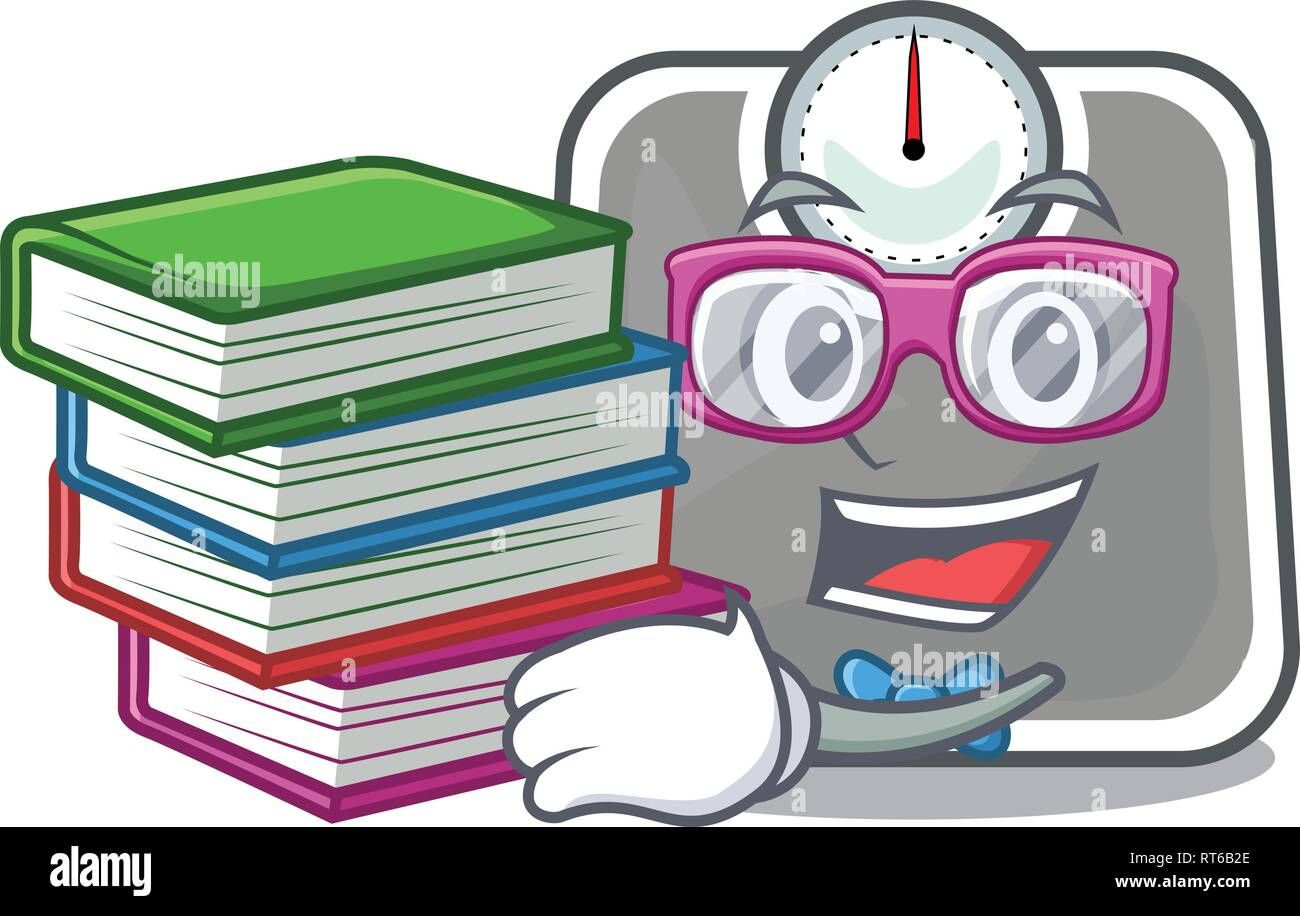 Student with book weight scala isolated with in cartoons - Stock Image