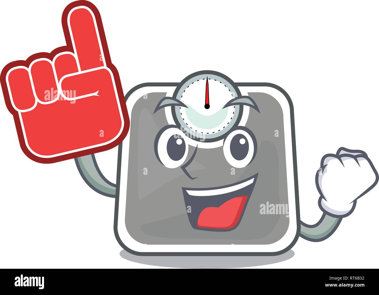 Foam finger weight scala isolated with in cartoons - Stock Image