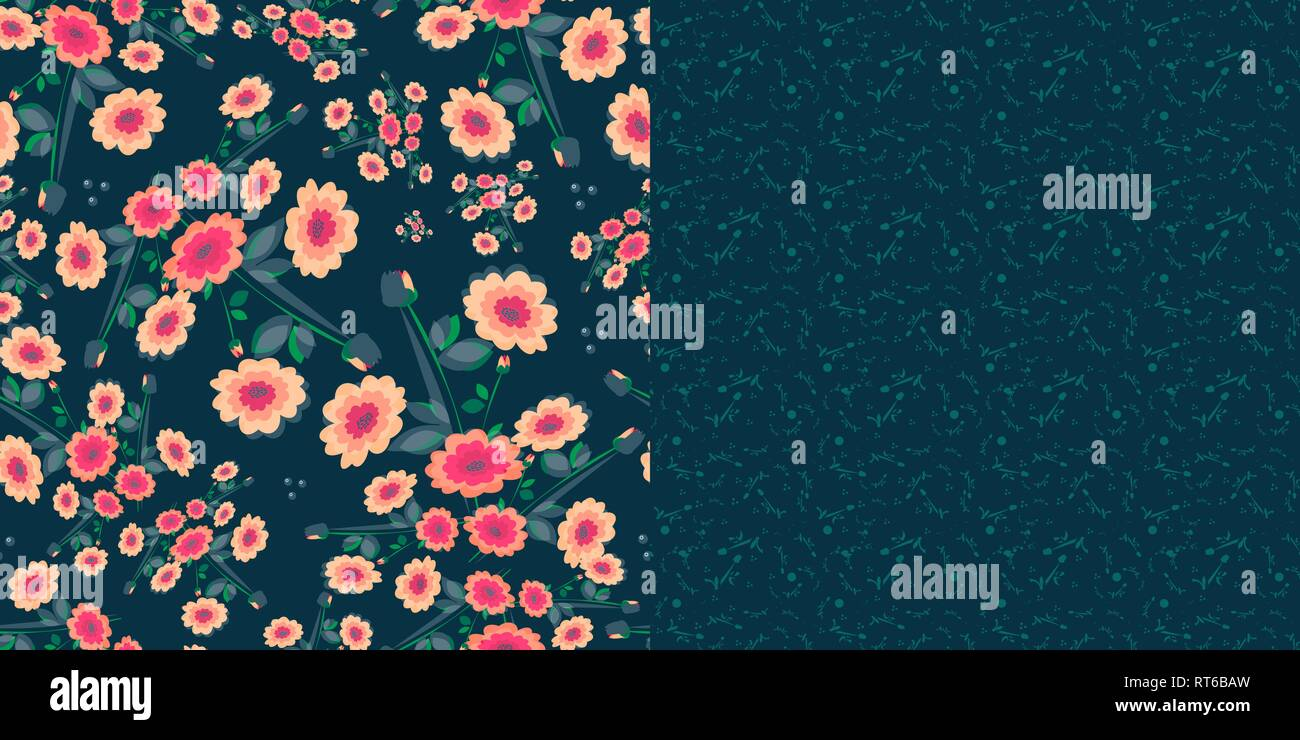 Set of two vector color compatible seamless patterns - Stock Image