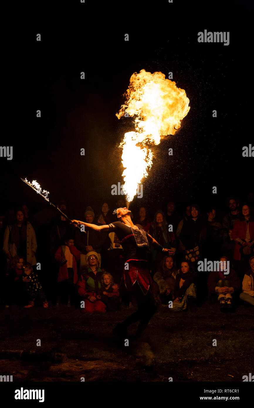 Fire breather at Beltane Fire Festival, Sussex, UK - Stock Image