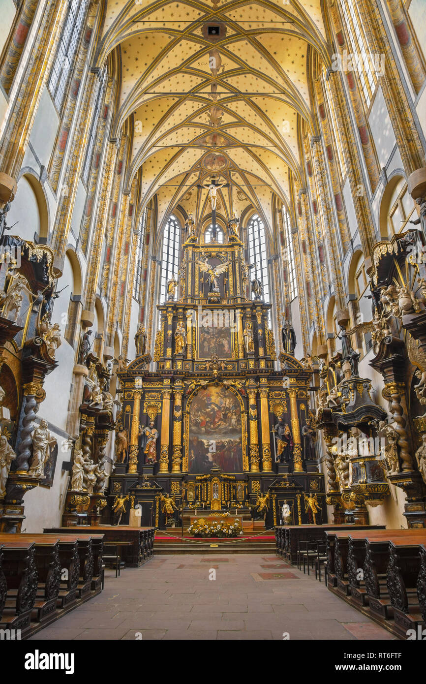 PRAGUE, CZECH REPUBLIC - OCTOBER 18, 2018: The neave of gothic-baroque Church of Our Lady of the Snows - Kostel Panny Marie Sněžné by unknown artis fr - Stock Image