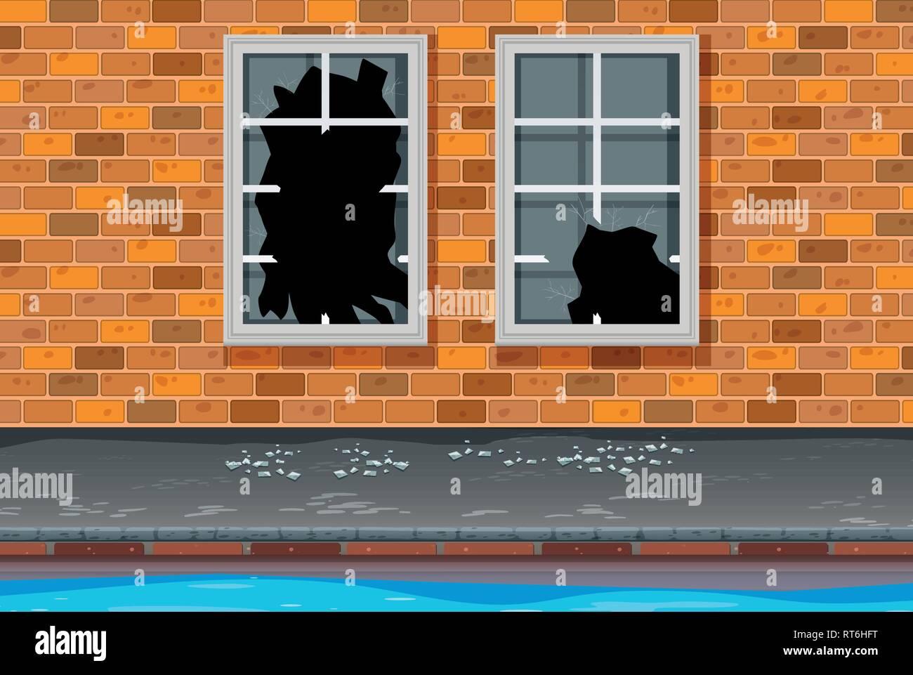 Unsafe urban neighborhoods background illustration - Stock Vector