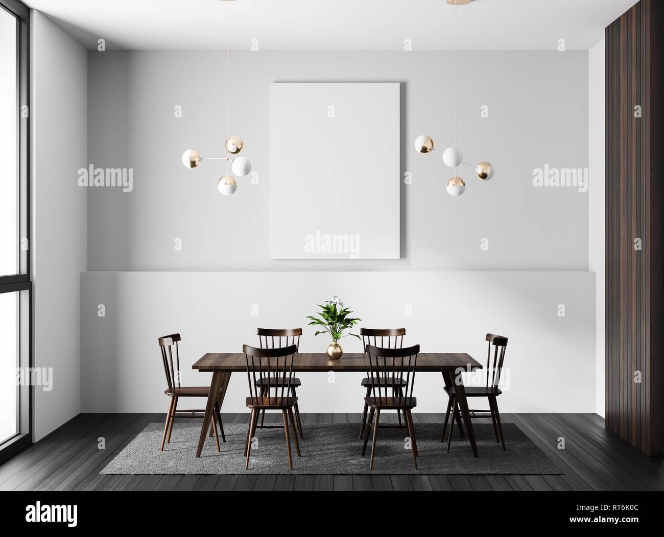 Mock Up Poster Frame In Modern Dining Room Scandinavian Style 3D Illustration