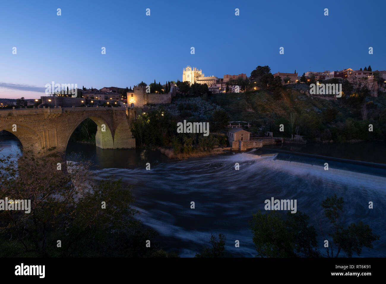Puente de San Martin, bridge over river Tajo, Toledo,Castilla la Mancha, Spain Stock Photo