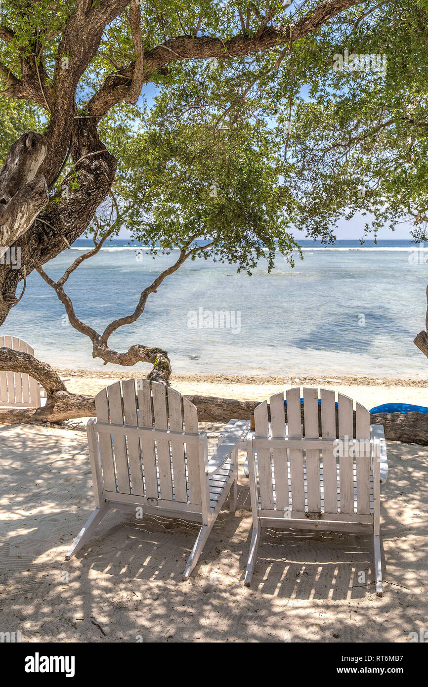 White sunbed under the tree in ocean view of Indonesia, Gili Trawangan island. - Stock Image