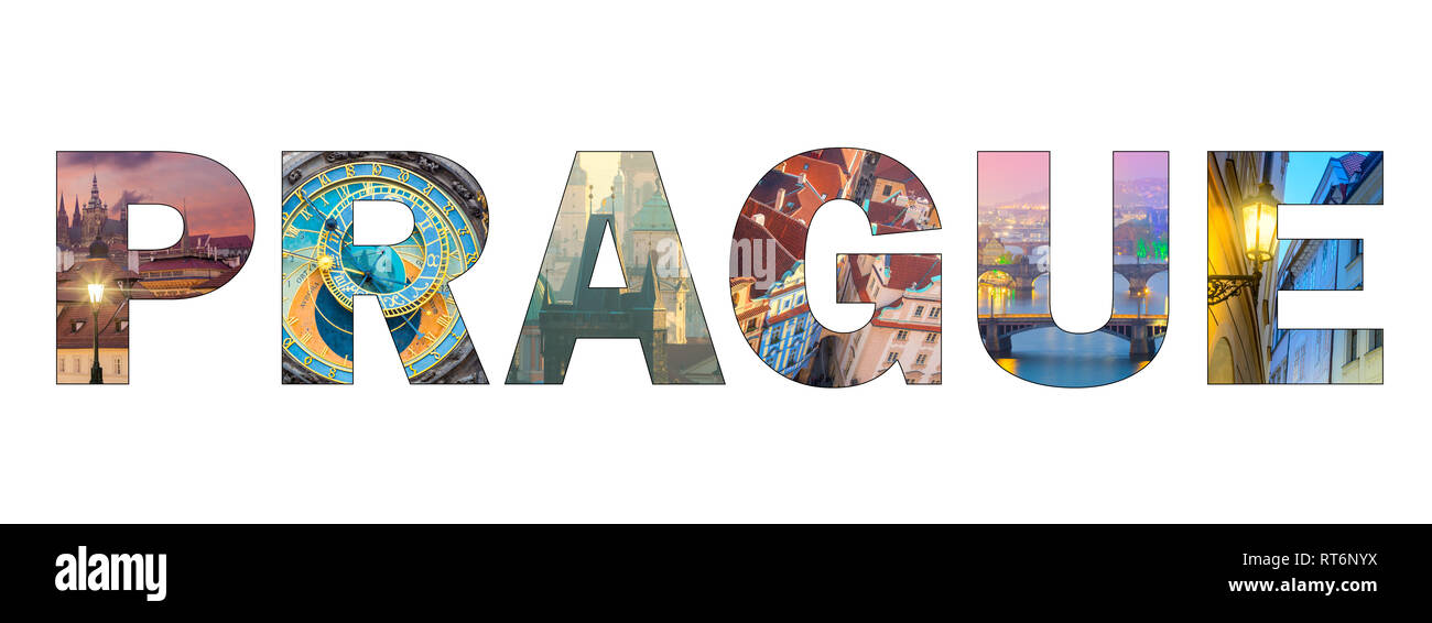 Famous Prague landmarks in photo collage, Letters PRAGUE isolated on white background, popular touristic locations - Stock Image