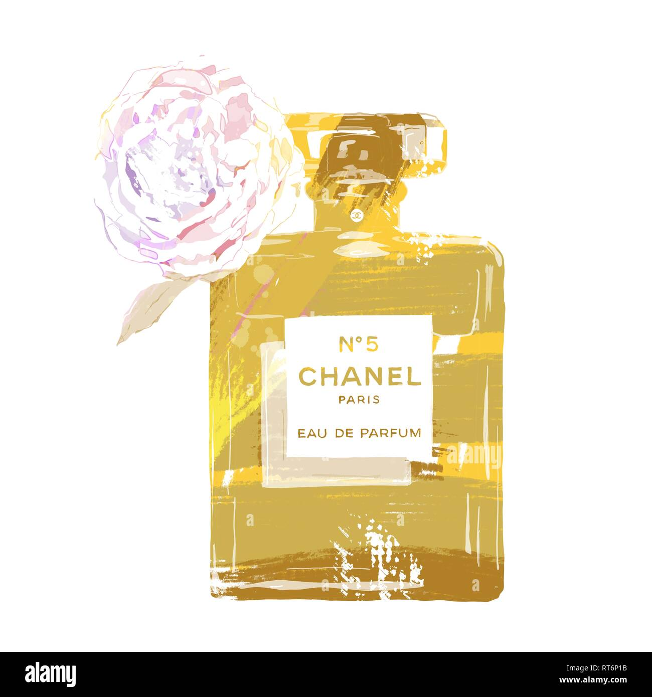 Coco Chanel Red No 5 Perfume Bottle With Flower Stock Photo