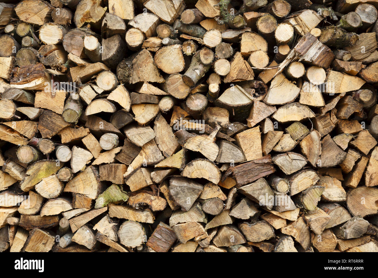 Closeup of firewood stacked ready for winter Stock Photo
